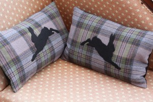 Tweed cushions - hare design