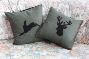 Tweed cushions - stag and hare design